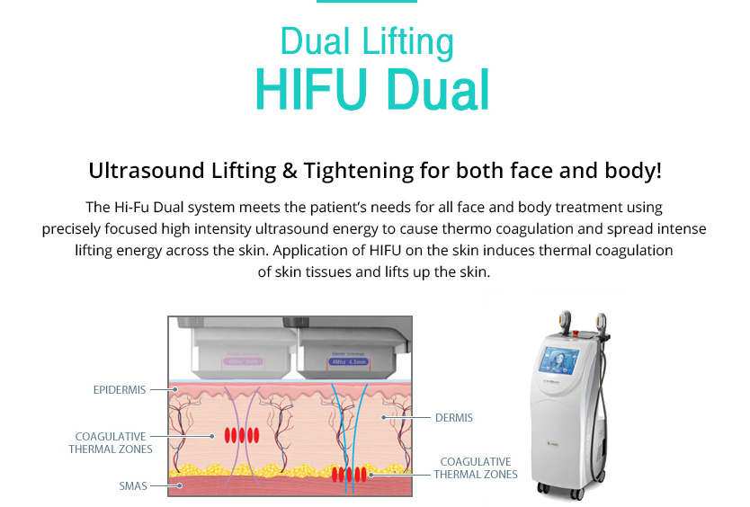 Dual HIFU Dual 				/Ultrasound Lifting & Tightening for both face and body!